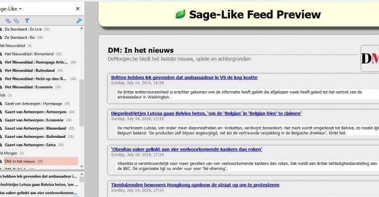 Met Sage-Like en RSS blijf je snel op de hoogte van het nieuws